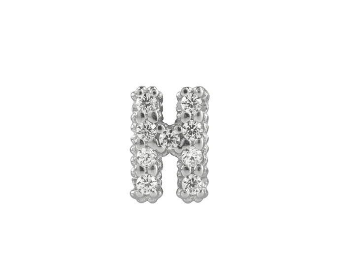 BLISS - Silver and White Cubic Zirconia Charm, Letter H