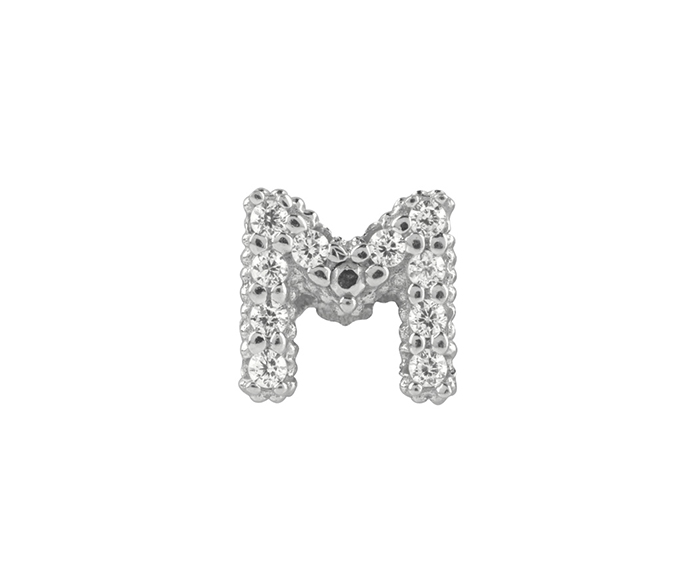 BLISS - Silver and White Cubic Zirconia Charm, Letter M