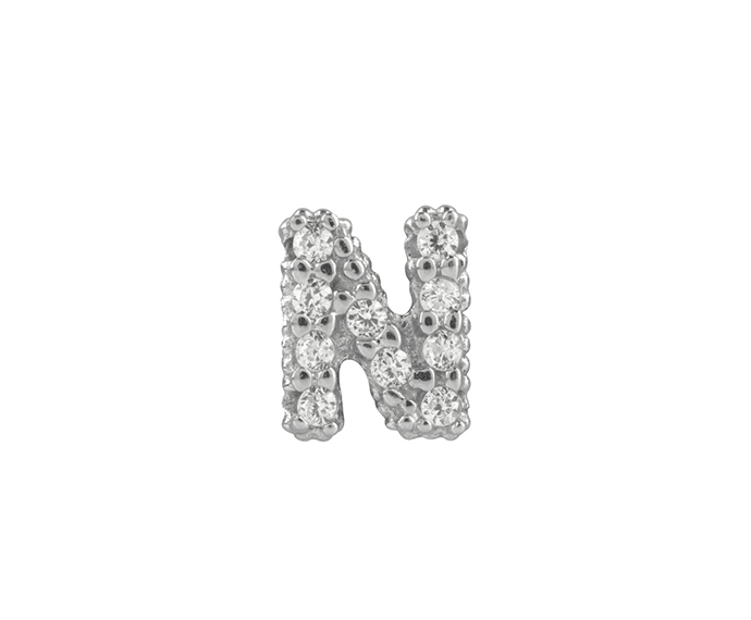 BLISS - Silver and White Cubic Zirconia Charm, Letter N