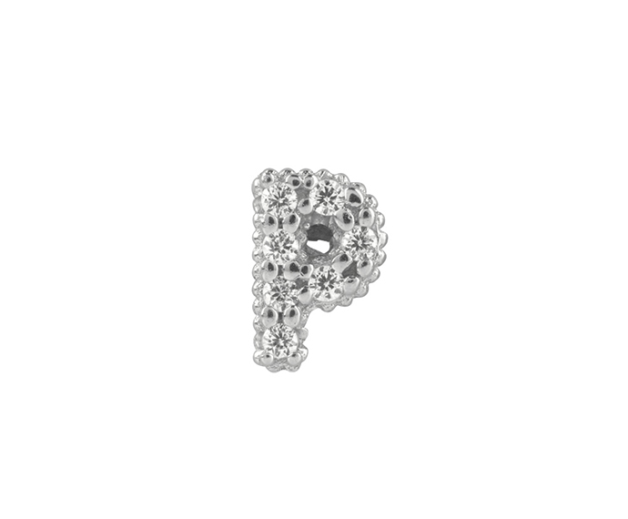 BLISS - Silver and White Cubic Zirconia Charm, Letter P