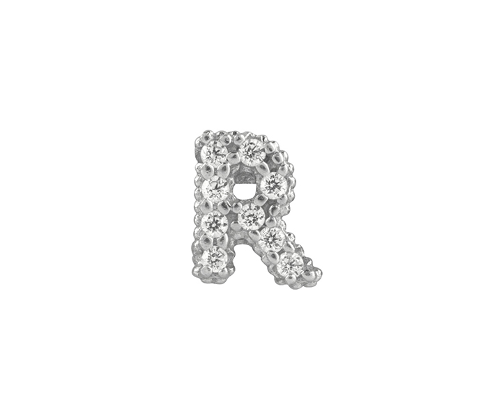 BLISS - Silver and White Cubic Zirconia Charm, Letter R