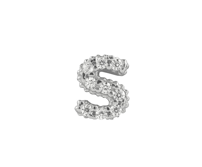 BLISS - Silver and White Cubic Zirconia Charm, Letter S