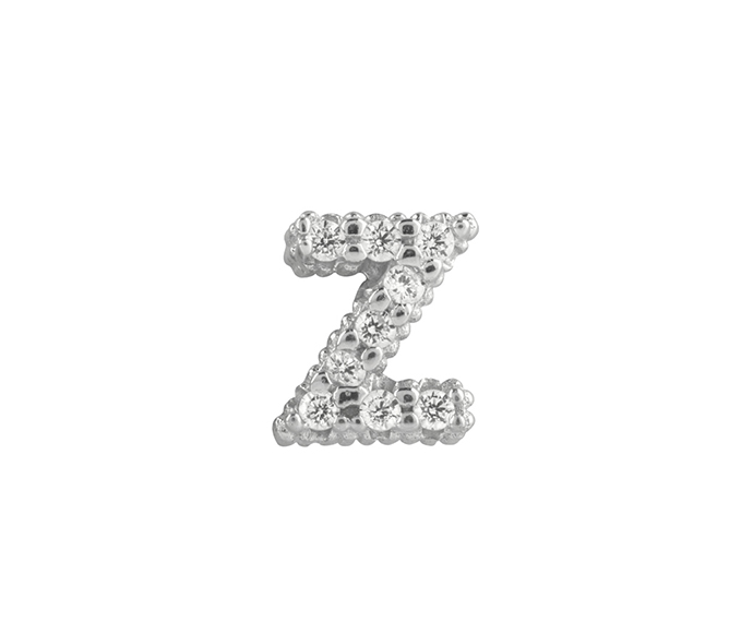 Bliss - Silver and White Cubic Zirconia Charm, Letter Z