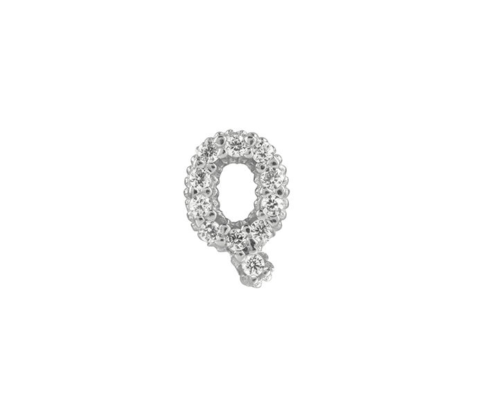 Bliss - Silver and White Cubic Zirconia Charm, Letter Q