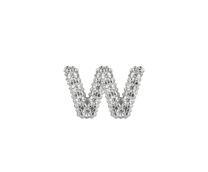 Bliss - Silver and White Cubic Zirconia Charm, Letter W