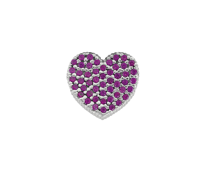BLISS - Silver and Red Cubic Zirconia Heart Pendant