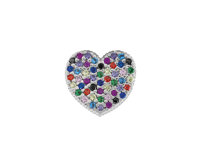 BLISS - Silver and Multicolor Cubic Zirconia Heart Pendant