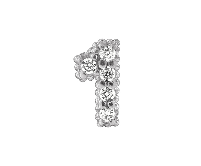 BLISS - Silver and White Cubic Zirconia Charm, Number 1