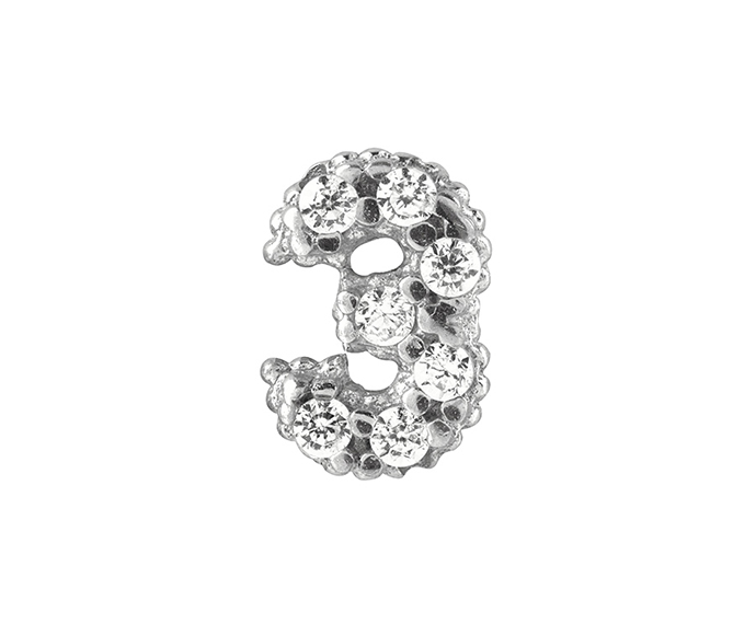 Bliss - Silver and White Cubic Zirconia Charm, Number 3