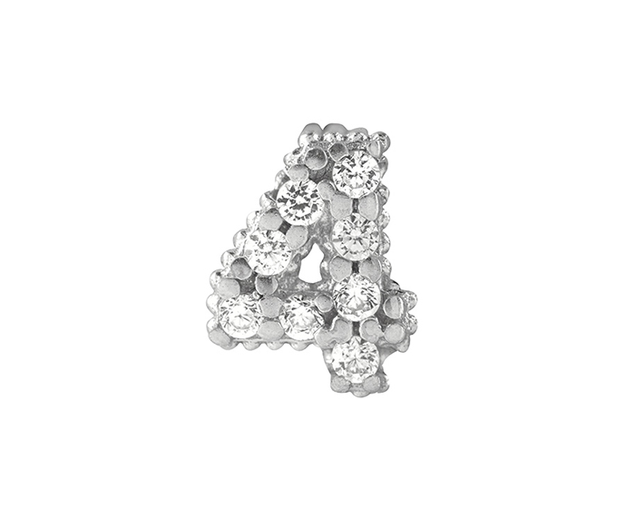 BLISS - Silver and White Cubic Zirconia Charm, Number 4