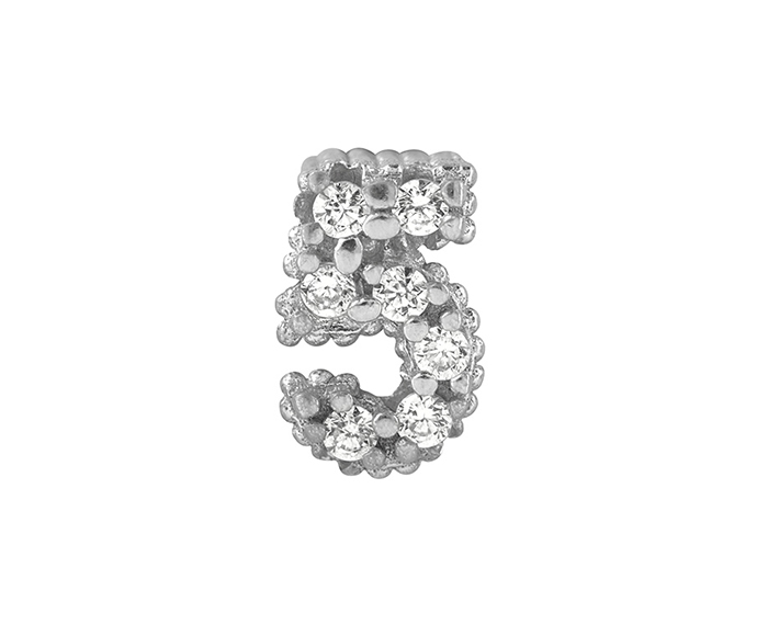 BLISS - Silver and White Cubic Zirconia Charm, Number 5
