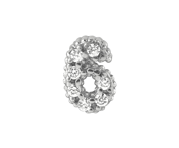 BLISS - Silver and White Cubic Zirconia Charm, Number 6