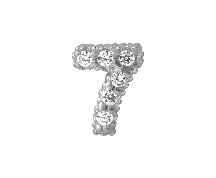BLISS - Silver and White Cubic Zirconia Charm, Number 7