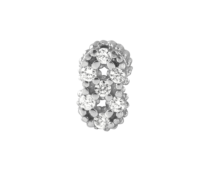 Bliss - Silver and White Cubic Zirconia Charm, Number 8
