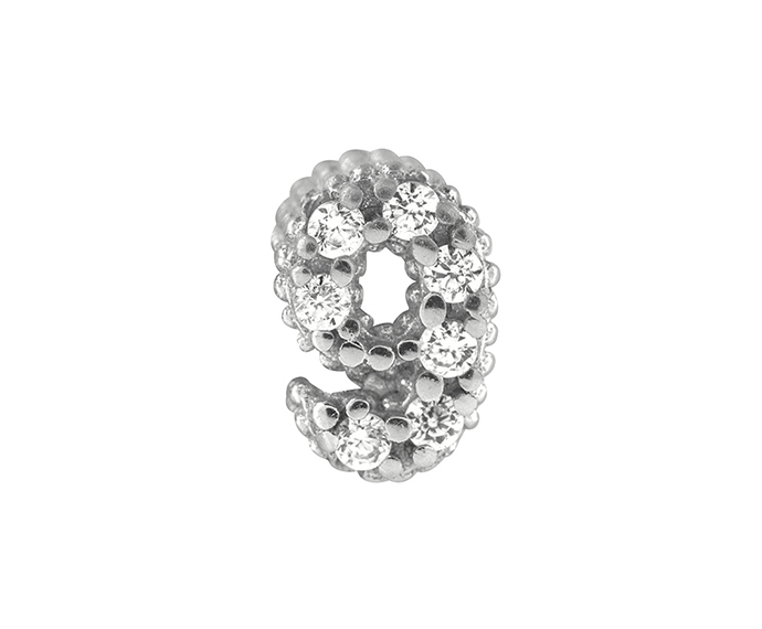 BLISS - Silver and White Cubic Zirconia Charm, Number 9