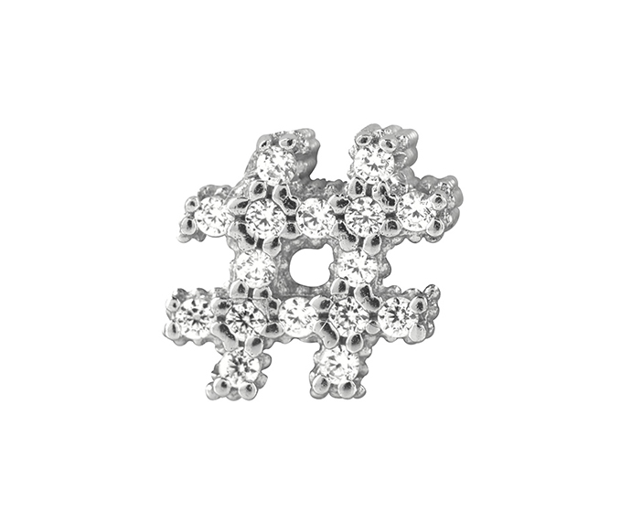 BLISS - Silver and Black Cubic Zirconia Hashtag Charm