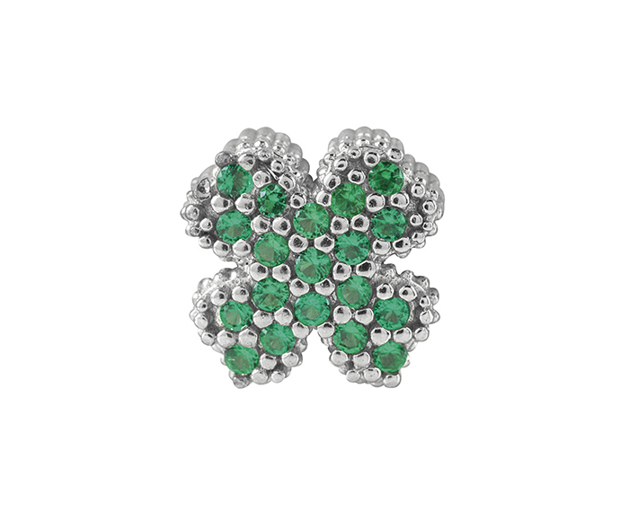BLISS - Black Silver and Green Cubic Zirconia Four-Leaf Clover Charm