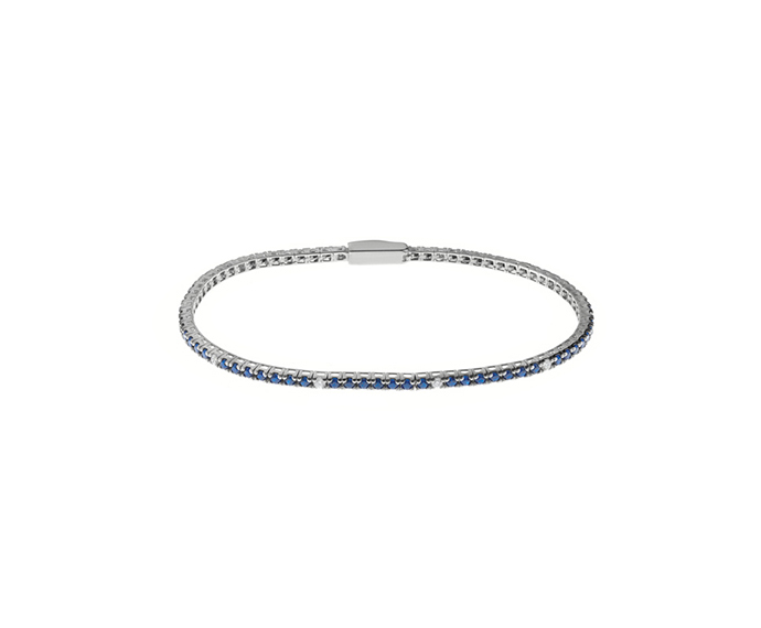 BLISS - Silver and Blue Cubic Zirconia Tennis Bracelet 17.50 cm