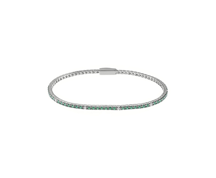 BLISS - Silver and Green Cubic Zirconia Tennis Bracelet 17.50 cm