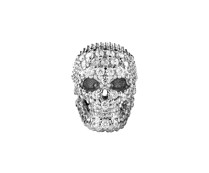 BLISS - Silver and Cubic Zirconia Skull Charm