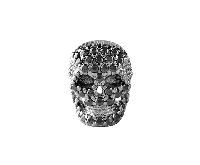 Bliss - Silver and Black Cubic Zirconia Skull Charm