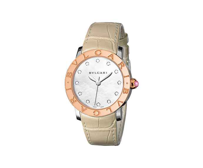 BULGARI - BVLGARI BVLGARI 33 mm steel, pink gold and diamonds