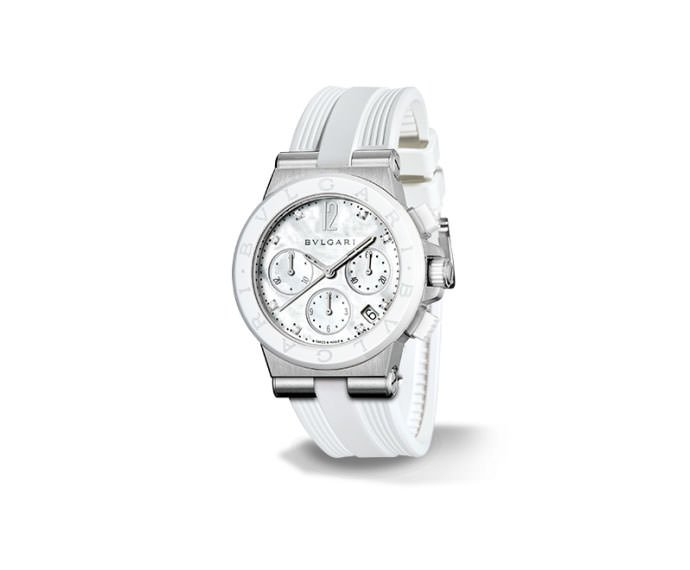 Bulgari - DIAGONO steel and white ceramic