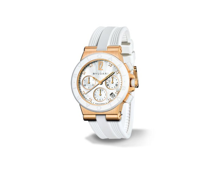 Bulgari - DIAGONO pink gold and white ceramic