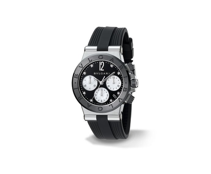 BULGARI - DIAGONO steel and black ceramic
