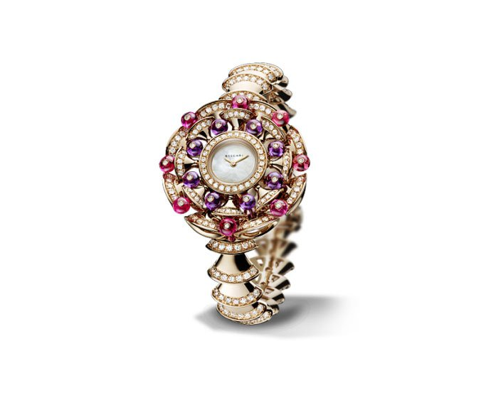 Bulgari - DIVA 39 mm pink gold, diamonds, rubellite and amethyst
