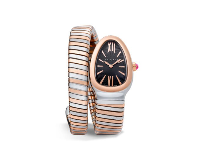 Bulgari - SERPENTI TUBOGAS 35 mm steel e pink gold