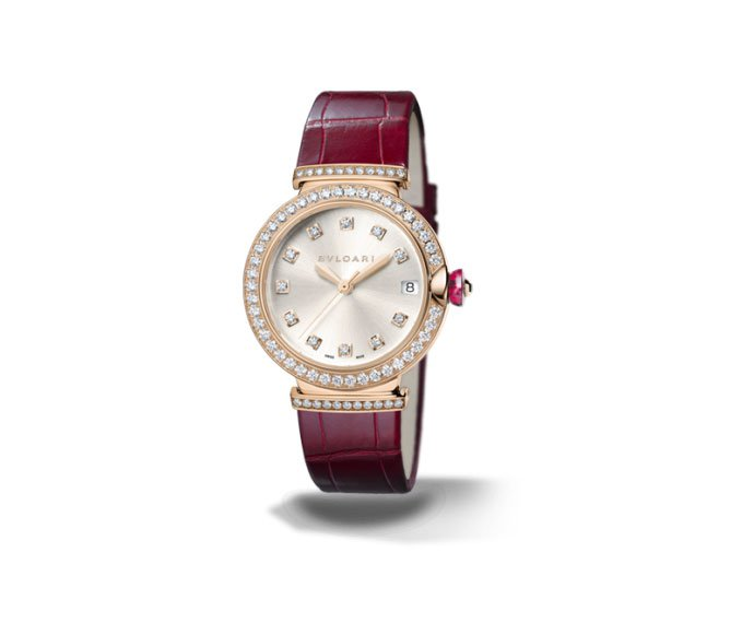 Bulgari - LVCEA 33 mm pink gold, diamonds and bordeaux bracelet