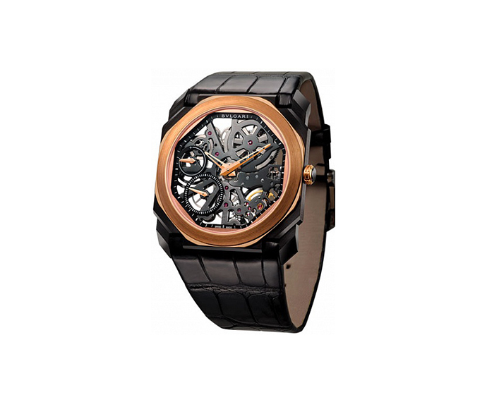 BULGARI - OCTO Finissimo 40 mm steel with DLC finish and pink gold