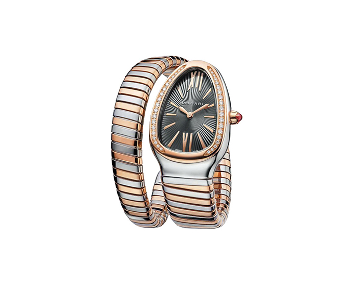 Bulgari - SERPENTI Tubogas 35 mm steel, pink gold and diamonds