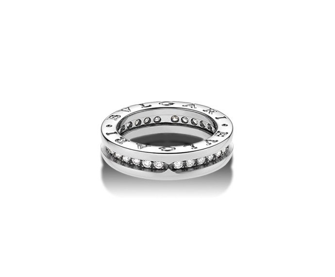 BULGARI - 1 band ring in white gold 18 K with pavé of diamonds