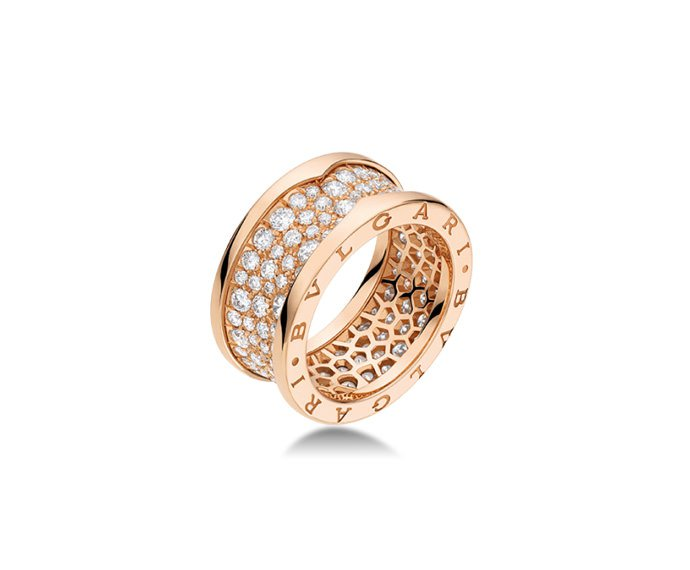 Bulgari - Ring in pink gold 18 K with pavé of diamonds