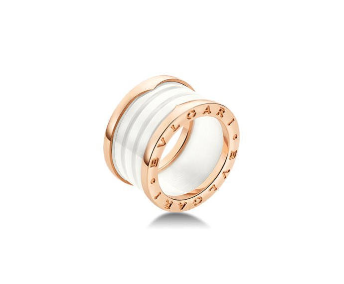 Bulgari - 4 band ring in pink gold 18 K and white ceramic