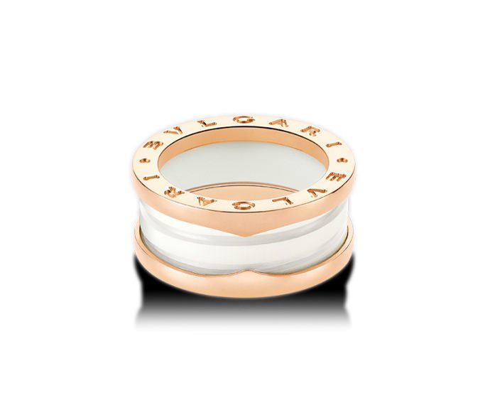 Bulgari - Ring in pink gold 18 K and white ceramic