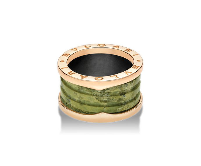 BULGARI - 4 band ring in pink gold 18 K and green marbre