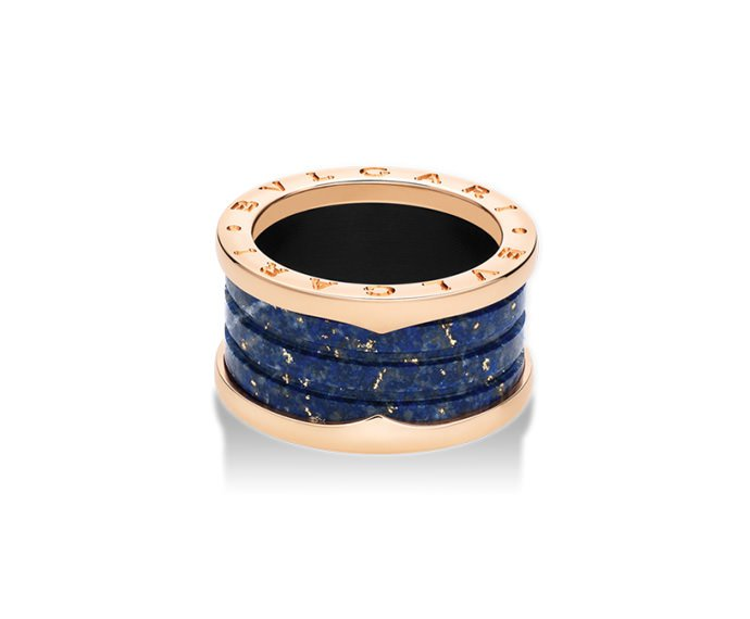 BULGARI - 4 band ring in pink gold 18 K and blue marbre