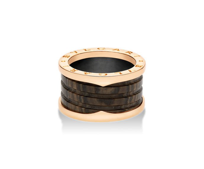 BULGARI - 4 band ring in pink gold 18 K and brown marbre