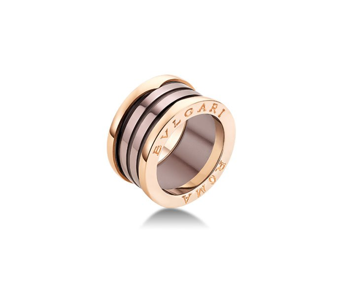 BULGARI - 4 band ring B.ZERO1 Roma in pink gold 18 K and bronze ceramic