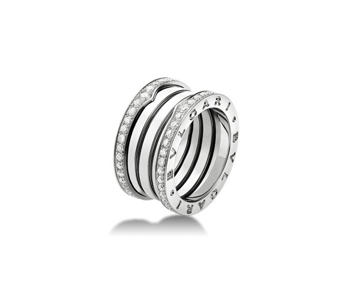 BULGARI - 4 band ring in white gold 18 K and pavé of diamonds along the edges