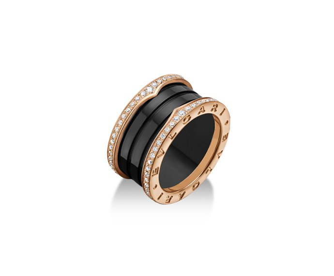 Bulgari - 4 band ring in pink gold 18 K and black ceramic with pavé of diamonds along the edges