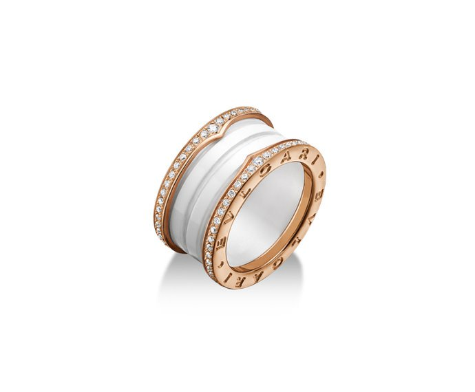 Bulgari - 4 band ring in pink gold 18 K and white ceramic with pavé of diamonds along the edges