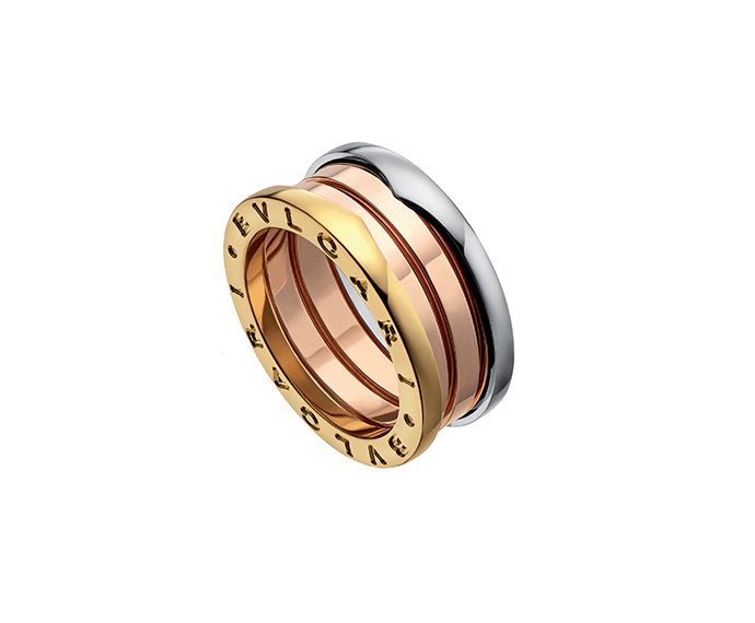 BULGARI - 3 band ring in pink, white and yellow gold