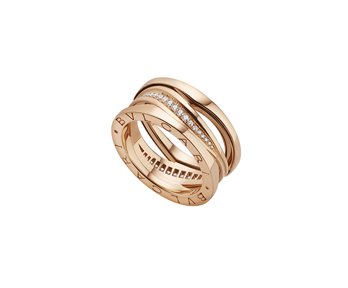 Bulgari - Pink gold 18 K ring with diamonds pavé
