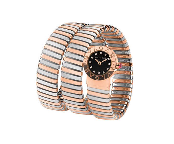 BULGARI - Bulgari Bulgari Tubogas steel and pink gold