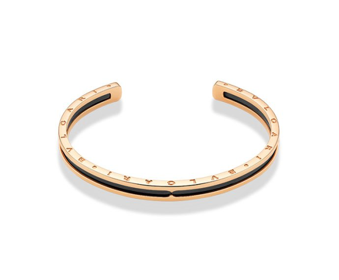 Bulgari - Bracelet cuff in yellow gold 18 K with carbon steel plated diamond effect