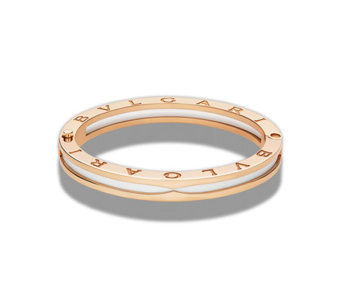 Bulgari - Bracelet bungle in yellow gold 18 K and white ceramic